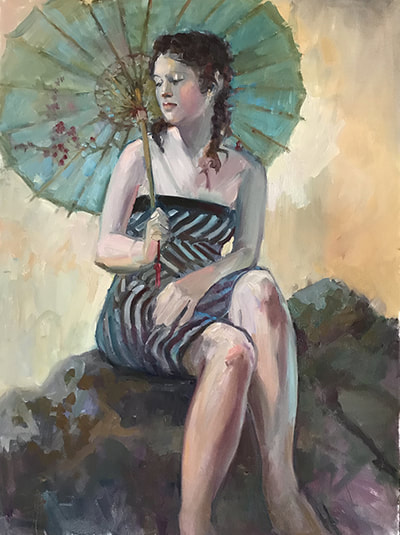 Becky with Turquoise Parasol by Kathleen Lack